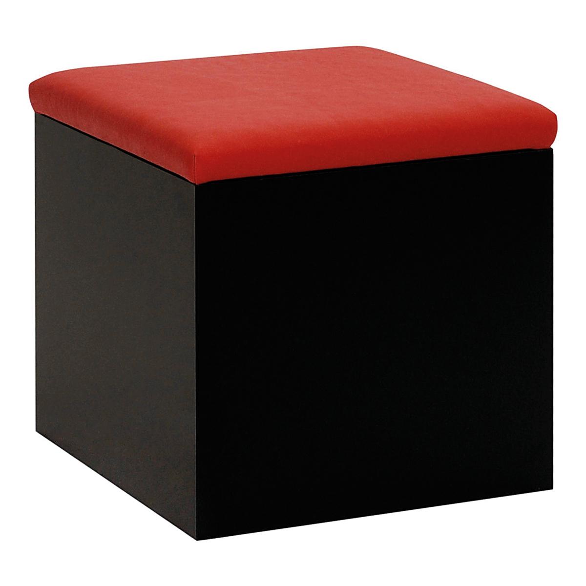 Hocker Cubus, schwarz-rot