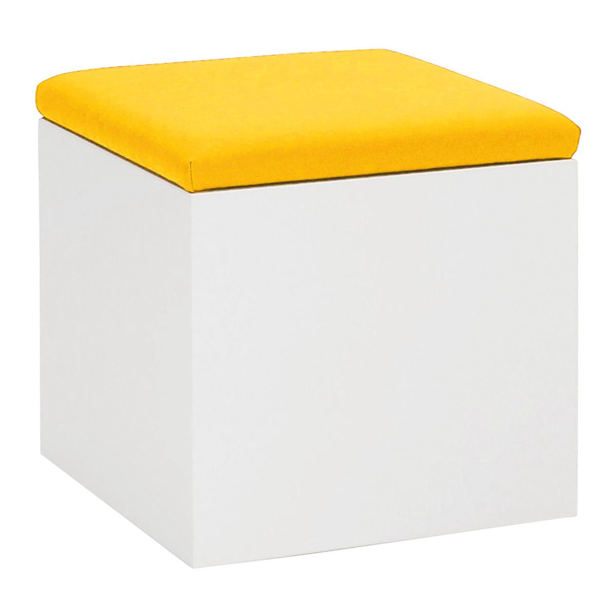 Hocker Cubus, weiß-gelb