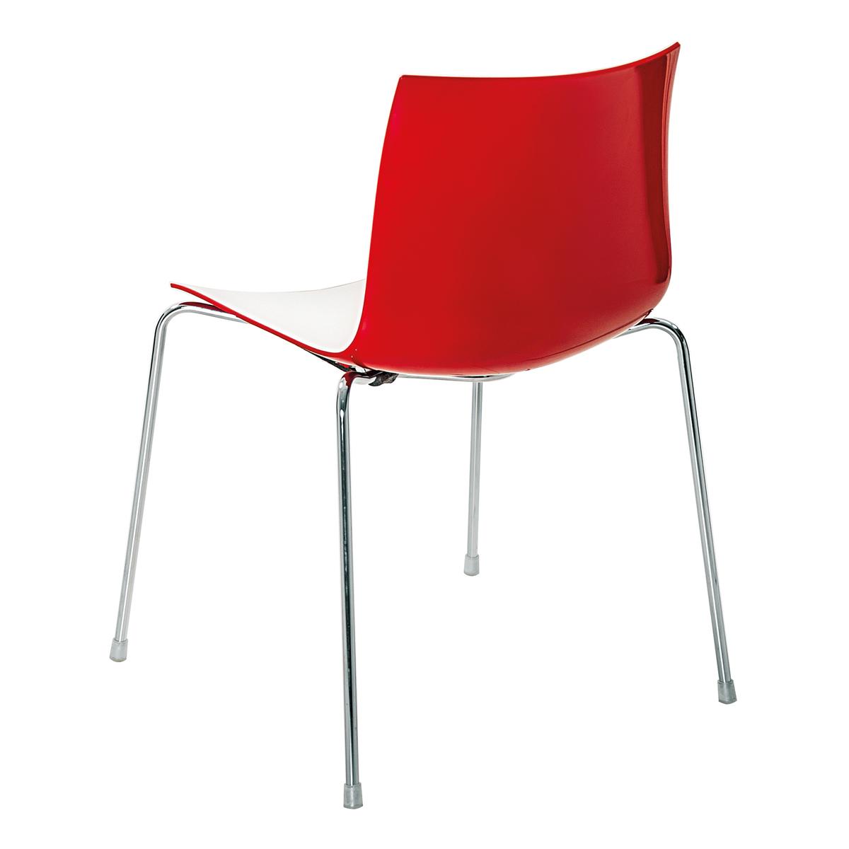 Stuhl Catifa 46, 4-Fuß, weiß-rot