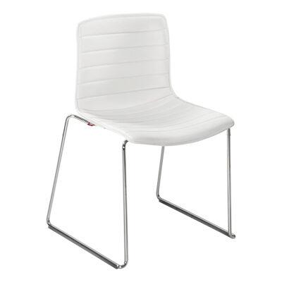 Stuhl Catifa 46 Leder, Kufe, weiß