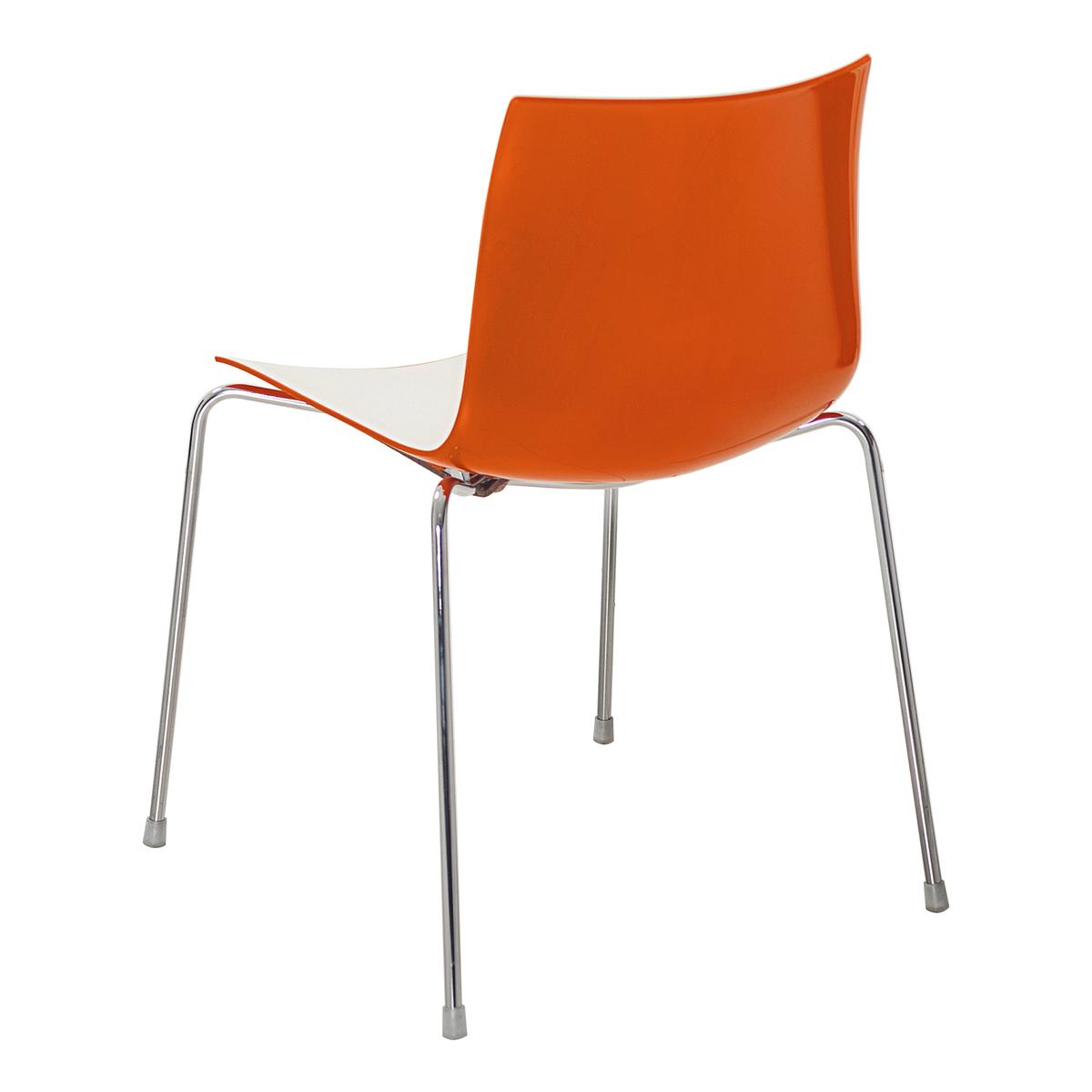 Stuhl Catifa 46, 4-Fuß, weiß-orange