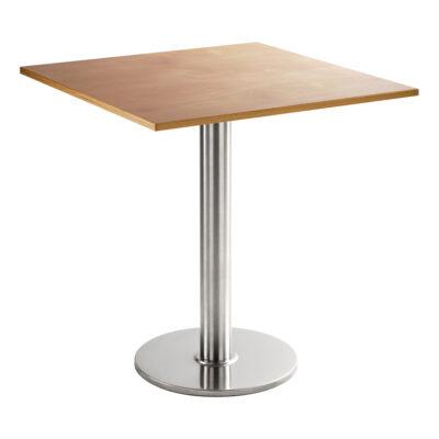 Table de salle à manger chromée, angulaire, hêtre