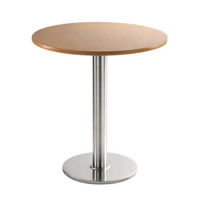 Table basse chromée ronde en hêtre