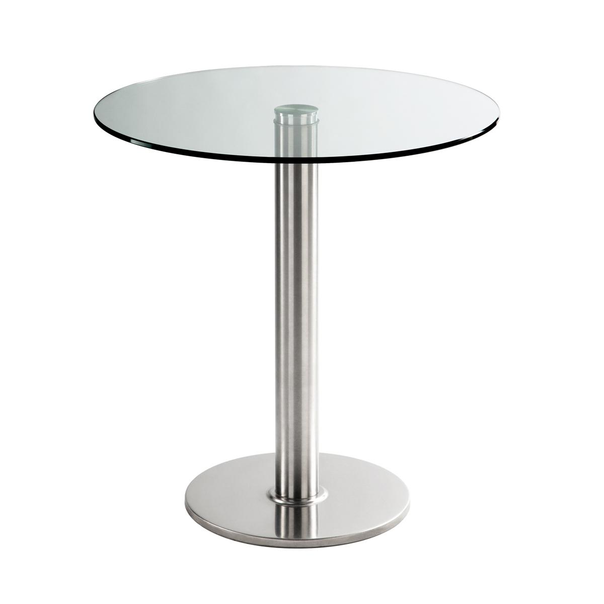 Sitztisch Chromo, rund, Klarglas