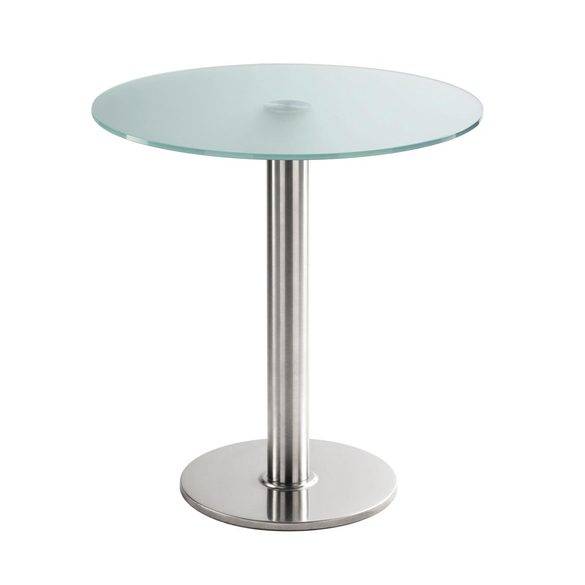 Sitztisch Chromo, rund, Satinglas