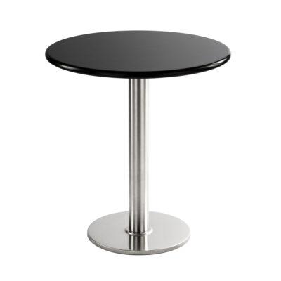 Table basse chromée, ronde, noire