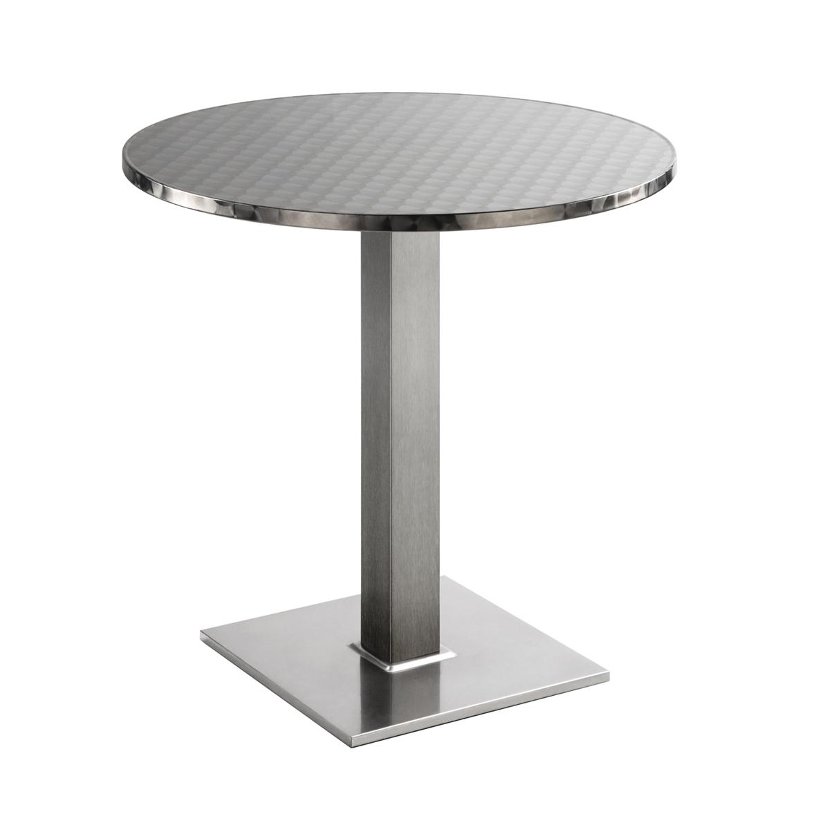 Sitztisch Quadrat, rund, Inox
