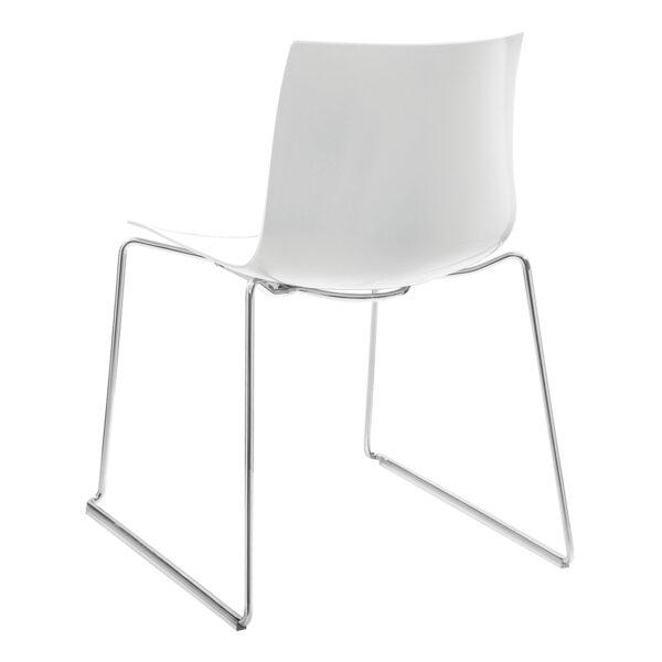 Stuhl Catifa 46, Kufe, weiß-grau
