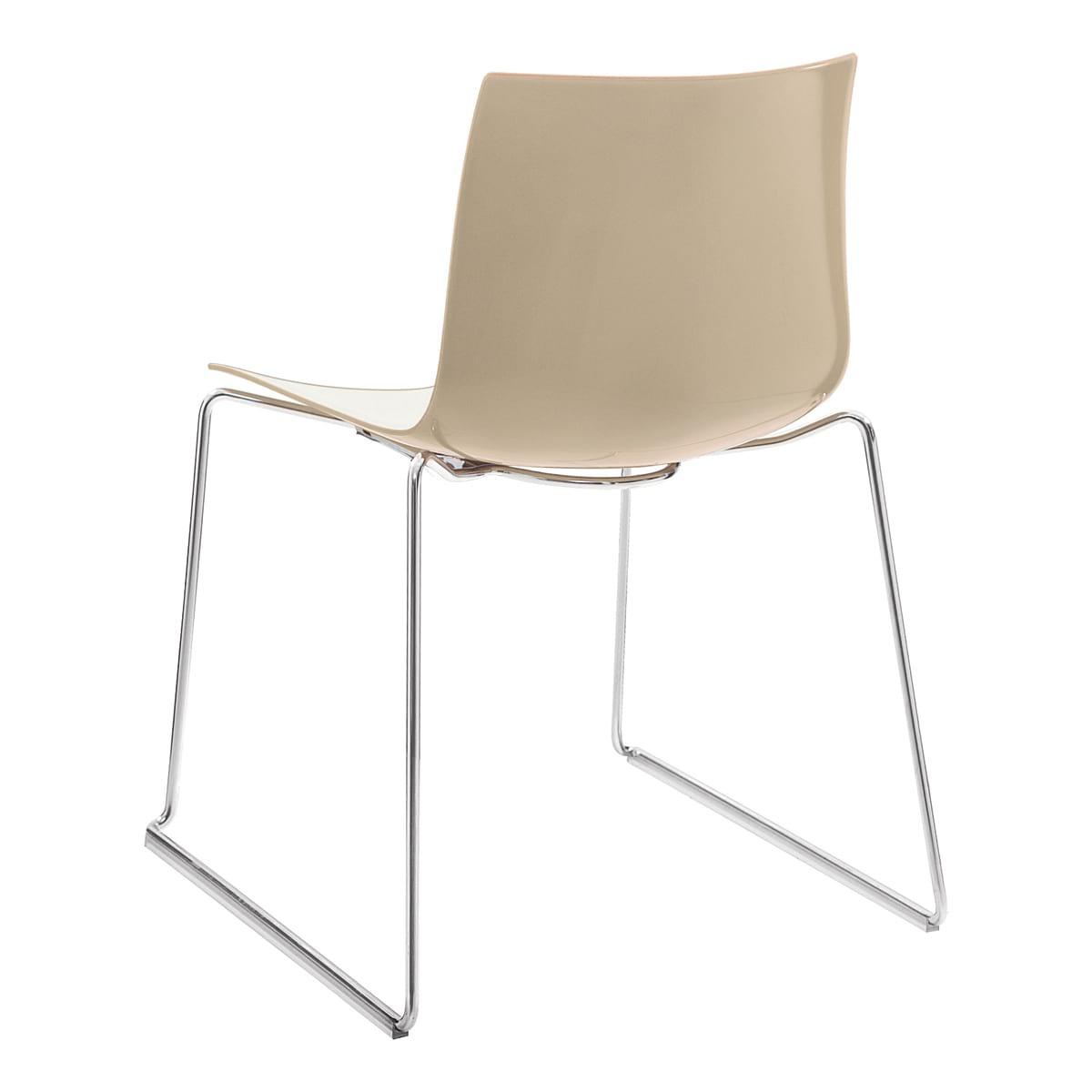 Stuhl Catifa 46, Kufe, weiß-Sand