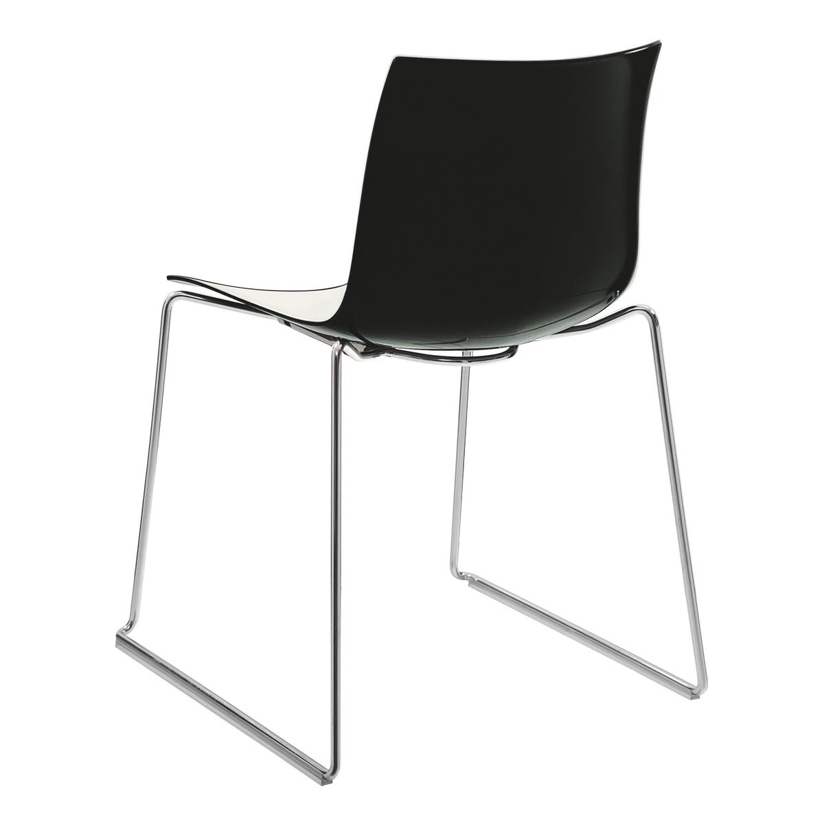 Stuhl Catifa 46, Kufe, weiß-schwarz
