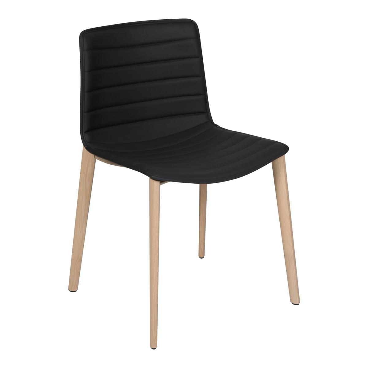 Stuhl Catifa Wood Leder, schwarz