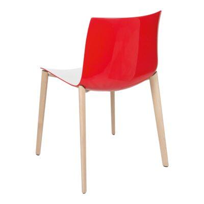 Stuhl Catifa Wood, weiß-rot