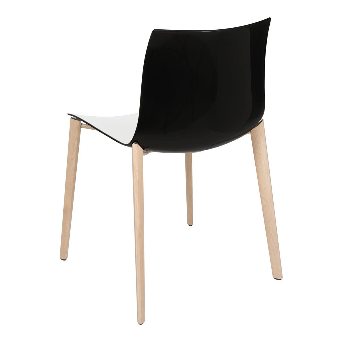 Stuhl Catifa Wood, weiß-schwarz