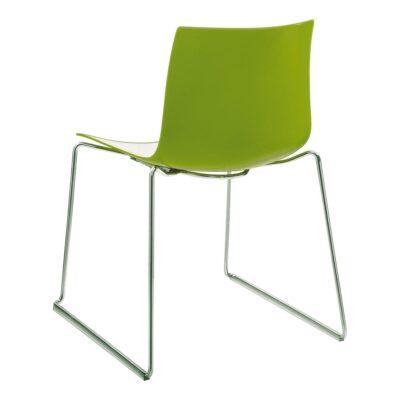 Stuhl Catifa 46, Kufengestell, weiß-grün